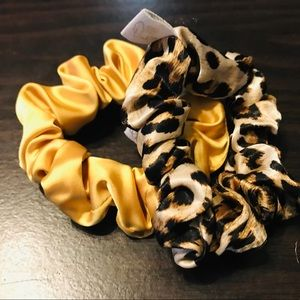 Mini party animal & golden yellow satin scrunchies